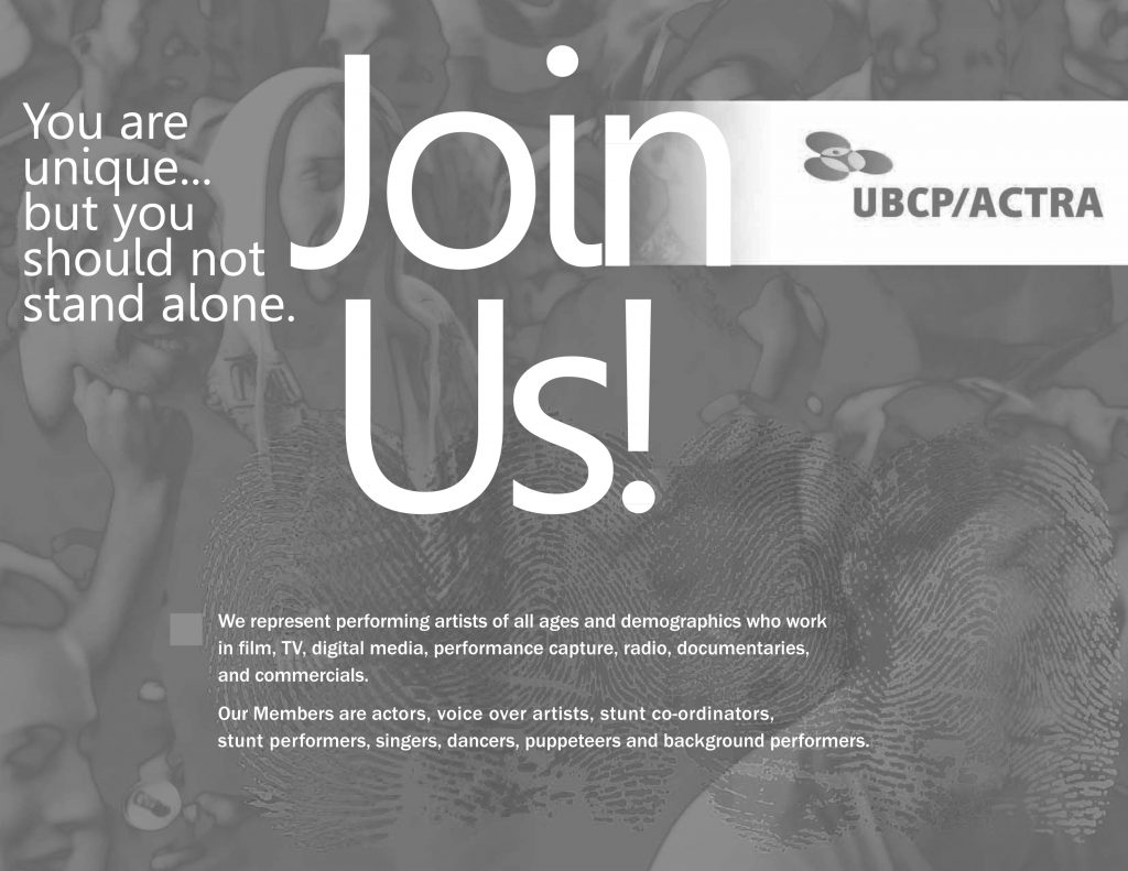 Join Us! Become a member of UBCP/ACTRA